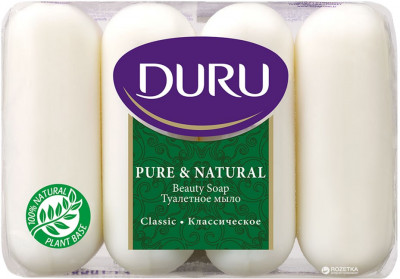 Мило Duru Pure and Natural екопак Класичне 4 х 85 г (8690506429331)