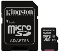 Kingston microSDXC 64GB Canvas Select Class 10 UHS-I U1 + SD-адаптер (SDCS/64GB)