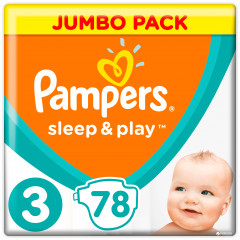 Подгузники Pampers Sleep & Play Размер 3 (Midi) 6-10 кг, 78 шт (8001090669094)
