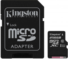 Kingston microSDXC 256GB Canvas Select Class 10 UHS-I U1 + SD-адаптер (SDCS/256GB)