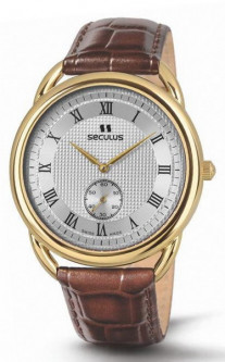 Мужские часы Seculus 4483.2.1069 pvd-y, white dial, brown leather