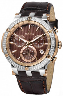Женские часы Seculus 1682.2.503 brown, ss-r with stones, brown leather