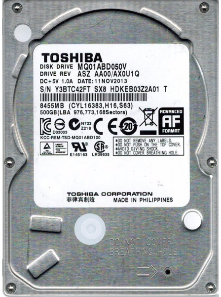 Жесткий диск TOSHIBA 500GB 5400rpm 8MB MQ01ABD050V 2.5 SATA II Refurbished