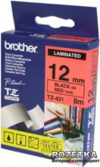 Лента Brother 12mm Laminated red Print black (TZE431)
