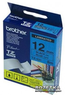 Лента Brother 12mm Laminated blue Print black (TZE531)