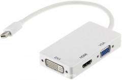 Переходник PowerPlant Mini DisplayPort (Thunderbolt) - HDMI+DVI+VGA (CA910946)