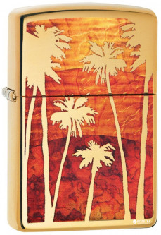 Зажигалка Zippo 254В Fuzion Palm Tree Sunset Золотистая (Zippo 29420)
