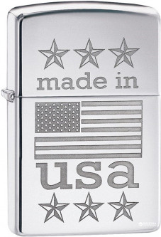 Зажигалка Zippo 250 Made In USA with Flag Серебристая (Zippo 29430)
