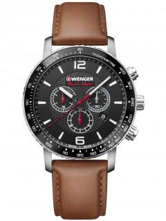 Часы Wenger 01.1843.104 Roadster Black Night Chronograph 44mm 10ATM