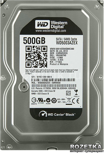 Жесткий диск Western Digital Black 500GB 7200rpm 64MB WD5003AZEX 3.5 SATA III - изображение 1