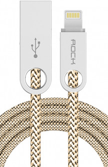 Кабель Rock Cobblestone Charge & Sync round Lightning cable 1 m Beige