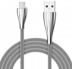 Кабель Rock metal Type-C data cable 1M Silver