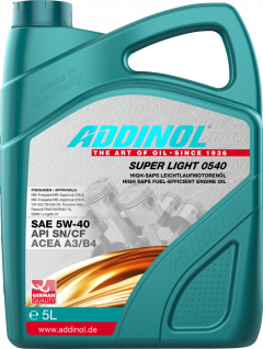 Моторна олива Addinol SUPER LIGHT 0540 SAE 5W-40 5 літрів