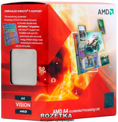 Процессор AMD Trinity A4-5300 3.4GHz/1MB (AD5300OKHJBOX) sFM2 BOX - изображение 1