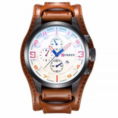 Часы мужские Curren Aviator brown-white (syif)