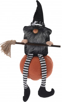 Декоративная игрушка Home&Styling Collection Witch on pumpkin 43 см Black (APF951220_black)