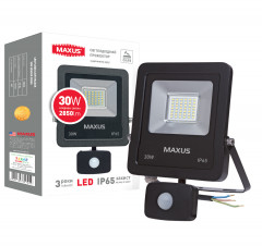 Прожектор MAXUS LED FLOOD LIGHT 30W SENSOR 5000K (1-MAX-01-LFL-3050s)