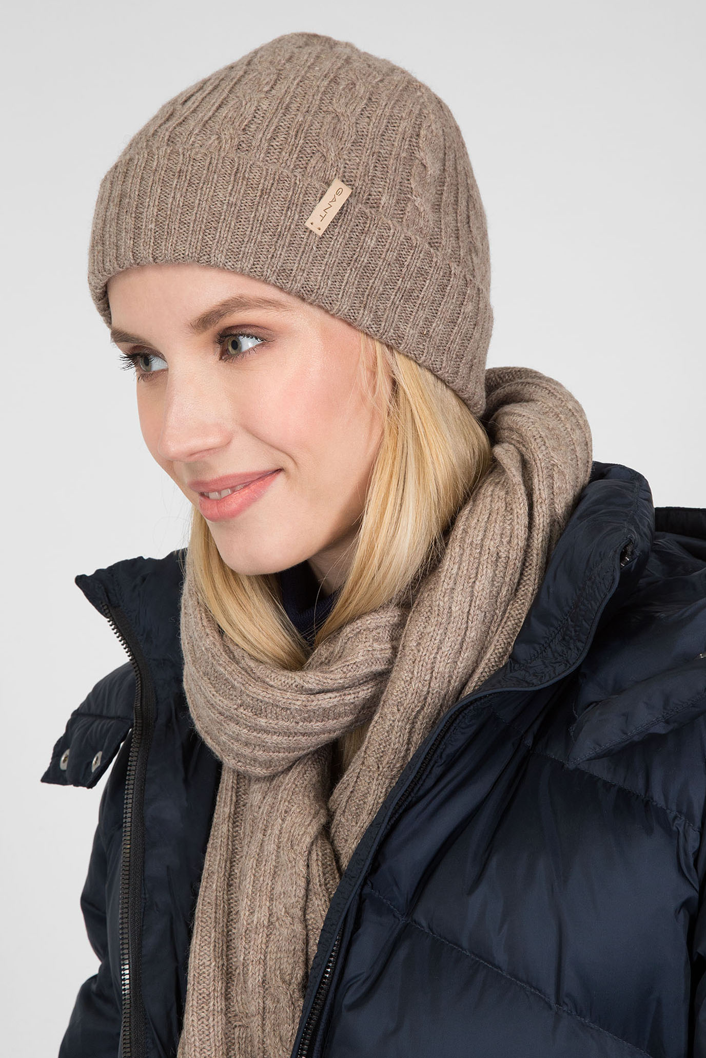 b8163e28d65b Шапка Gant O2. Cable Knit Hat 4910002-261 One Size Коричневая  (7325702471488)