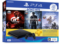 PlayStation 4 Slim 500GB Rus Black Bundle (CUH-2208A) + Horizon Zero Dawn. Complete Edition + Uncharted 4: Путь вора + Gran Turismo Sport + PSPlus 3 месяца