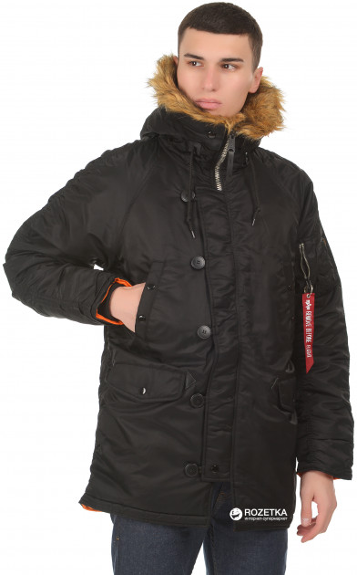Парка Alpha Industries Slim Fit N-3B Parka S Black/Orange