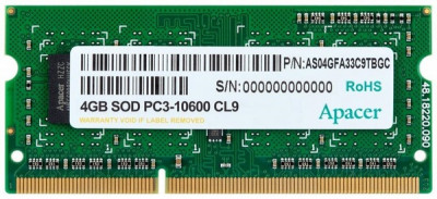 Оперативна пам'ять Apacer SODIMM DDR3-1333 4096MB PC3-10600 (DS.04G2J.K9M)
