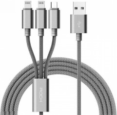 Кабель Rock 3 in 1 charging cable w/ version A/USBA TO lightning+lightning+micro/ 1,2M Tarnish