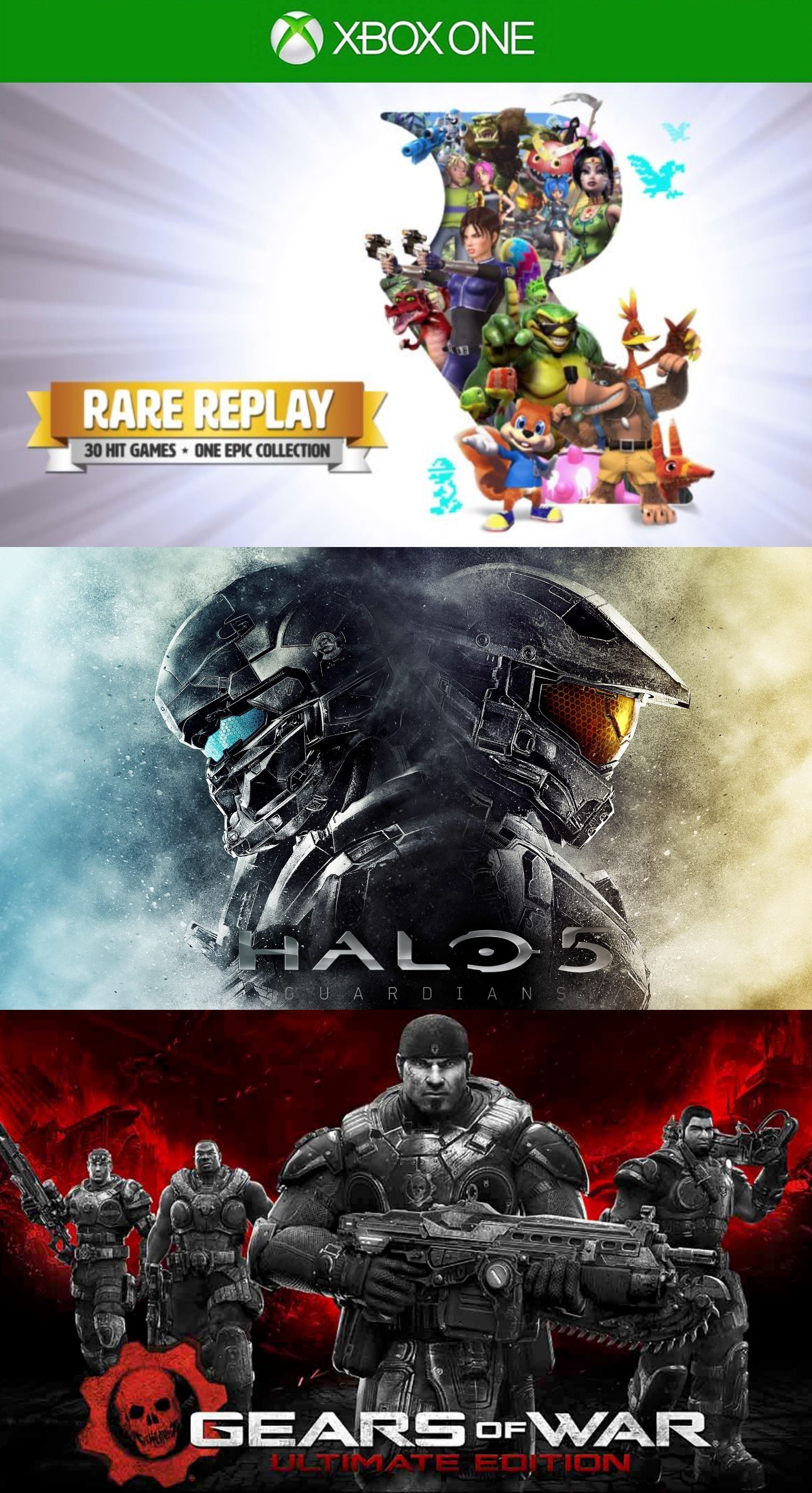 Rare Replay + HALO 5 + Gears Of War Ultimate Edition Xbox ONE Ваучер на  скачивание