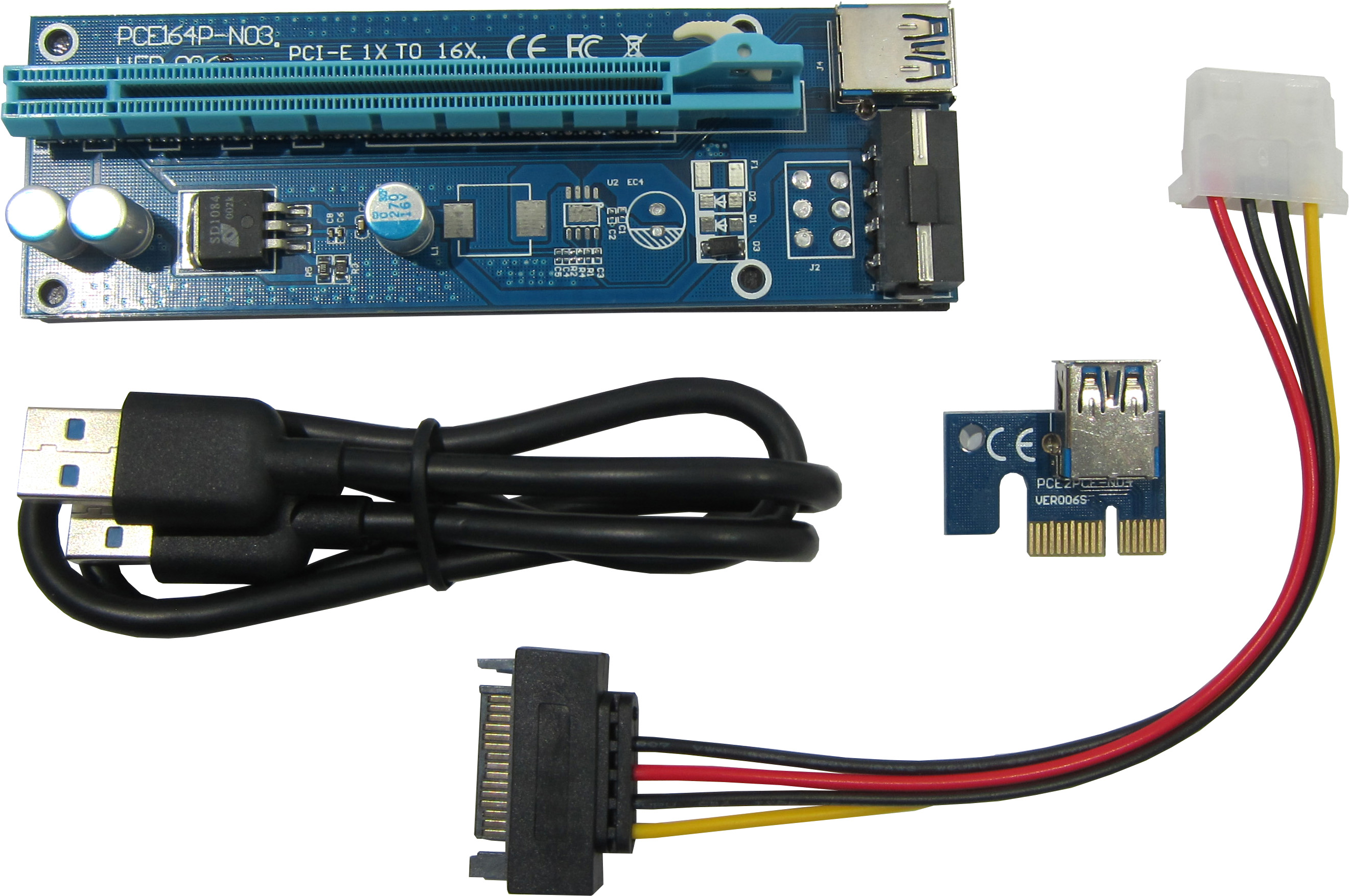 Купить Райзеры, Адаптер-райзер Dynamode PCI-E x1 to 16x, 60 см USB 3.0 Cable SATA to 4Pin IDE Molex Power ver.006 (RX-riser-006)