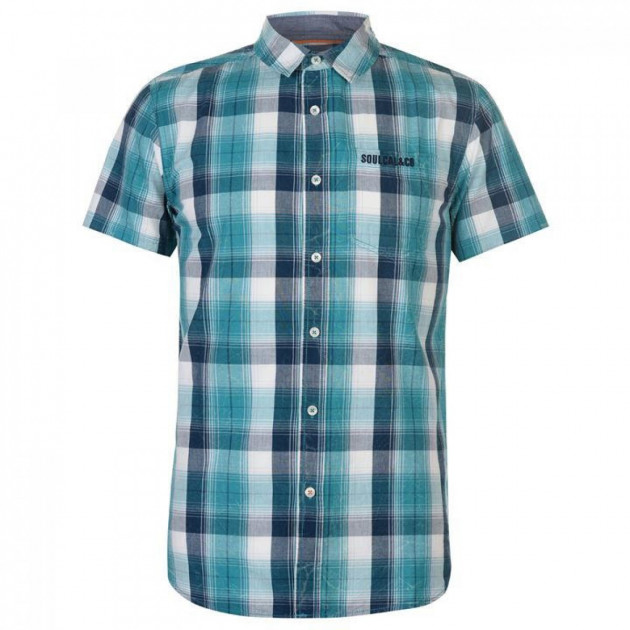 Рубашка SoulCal Short Sleeve Check Teal/Navy/White, L (10077373)