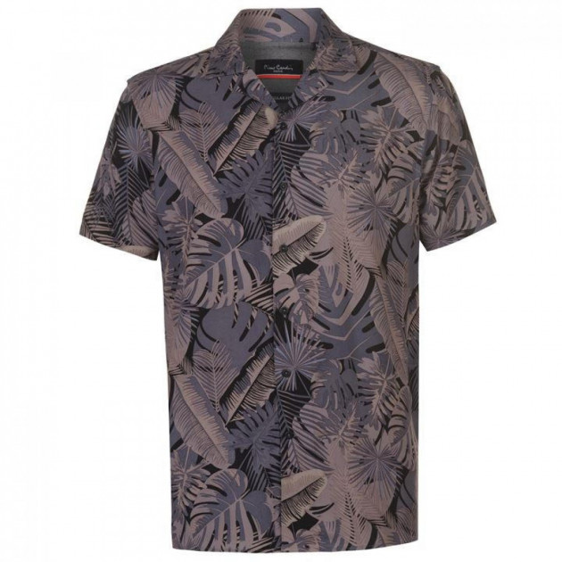 Рубашка Pierre Cardin Palm Short Sleeve Grey/Stone, XXL (10076874)